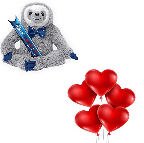 Kit sanvalentino-peluche a forma di bradipo baci perugina con cioccolatini san valentino + 25 palloncini a cuore rosso