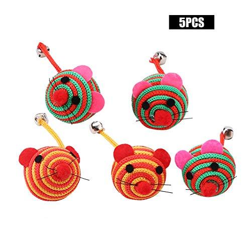HEEPDD Maus Katzenspielzeug, 5 Teile/Satz Haustier Bunte Nylon Seil Runde Ball Maus mit Langen Schwanz Glocke Katze Kauen Training Spaß Spielen Spielzeug (Zufällige Farbe)