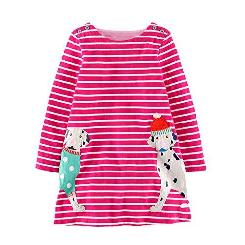 Mooler Mädchen Rundhalsausschnitt Langarm Kleider Baumwolle Cartoon Hunde Applique T-Shirt Kleid , Rosa , 6 Jahr (T-shirt Geschenke Dunklen)