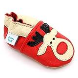 Dotty Fish weiche Leder Babyschuhe mit rutschfesten Wildledersohlen. 2-3 Jahre (25 EU). Weihnachten. Roter Schuh mit Rudolph das rotnasige Rentier Design. Kleinkind Schuhe.