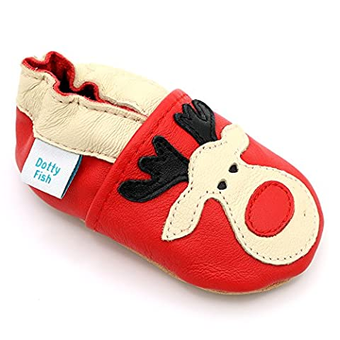 Dotty Fish Leder Babyschuhe - rutschfest Wildledersohle – chromfrei weiche Lederschuhe - Baby Jungen und Mädchen - rot Rentier Weihnachten - 18-24 Monate - Gr. 23