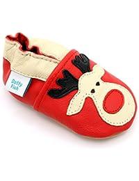 Dotty Fish Chaussures Cuir Souple bébé et Bambin. 0-6 Mois - 3-4 Ans. Dessins d'animaux de Noël de fête. Garçons et Filles.