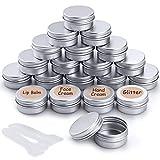 20 Pezzi Vasetti Alluminio, Barattoli Metallo Vasetto Vuoto Contenitori Cosmetici con copri di Vite e etichette e Mini Spatola per Crema Campione Cosmetici Balsamo Labbra - 20ml