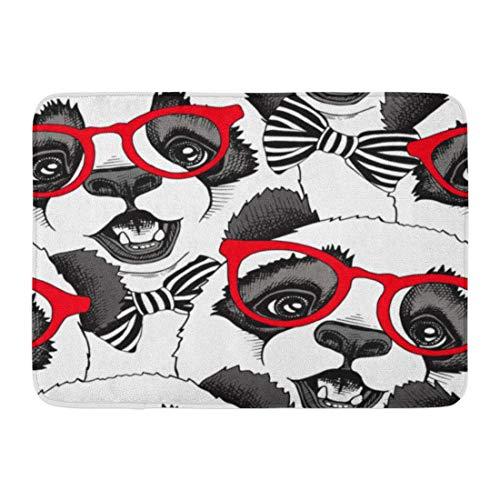 Zhengzho Rutschfeste Fußmatten Muster von Panda Child in rote Brille Krawatte Cool Bear Little Funny Durable Teppiche 40x60cm