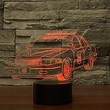 Lámpara de color orangeww 7 / Luces de noche LED visuales 3D / Usb táctil para niños/Luz de movimiento de luz nocturna para bebés/Regalo lindo/Decoración creativa actual Coches de policía