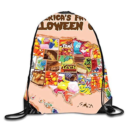 gthytjhv Rucksack mit Kordelzug Halloween Map Candy Goodie Bags,Promotional Gym Sack for Birthday Party Halloween Map Candy3 Lightweight Unique 16.9x14.2