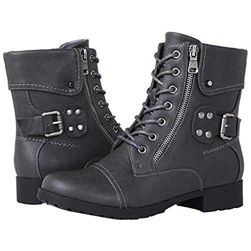 Levifun Stiefel Damen Chelsea Boots Damen Stiefeletten Spitze Große Reißverschluss mit quadratischen Stiefeletten Wasserdicht Kurz Freizeit Vintage Schuhe Herbst Und Winter Ankle Boots