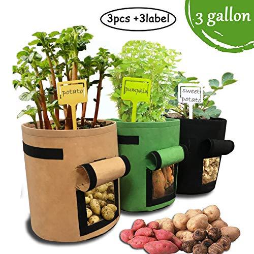 Hugool 3 Bolsas Cultivo Patatas 3-7-10 galones Velcro