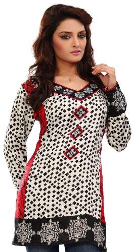 Indische Frauen Kurti Top Tunika Bluse Bedruckt Indien Kleidung (Weiß, L) (Shirt Kurti Tunika)