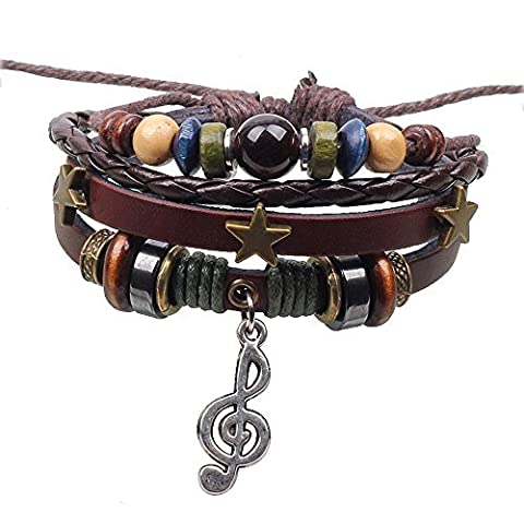 Winter's Secret Music Note Pendant 3 Five Star Hand Braided Multi Strand Brown Leather Wrap Bracelet by Winter's Secret