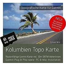 Colombia Garmin tarjeta Topo 4GB MicroSD. Mapa Topográfico de GPS Tiempo Libre para Bicicleta Senderismo Excursiones Senderismo Geocaching & Outdoor. Dispositivos de Navegación, PC & Mac