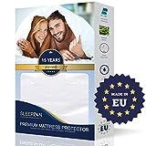 SLEEPZEN Protector de Colchón Impermeable 200x200cm, Muletón 100%, Cubre Colchón Anti-ácaros, Antibacteriano, Antimoho, hipoalergénico - Hecho en Europa - 15 años de garantía