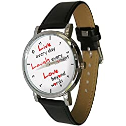 Live, Laugh, Love Design Watch. Exclusive to YWD. great inspirational quote. Genuine Leather Strap