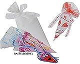 Unbekannt Bastelset - 3 Stück - Schultüte 18 cm - aus Folie mit Tüll - Zuckertüte zum Basteln Rohling weiß - Tischdeko / Dekoration Schulanfang - Schuleinführung - Jung..