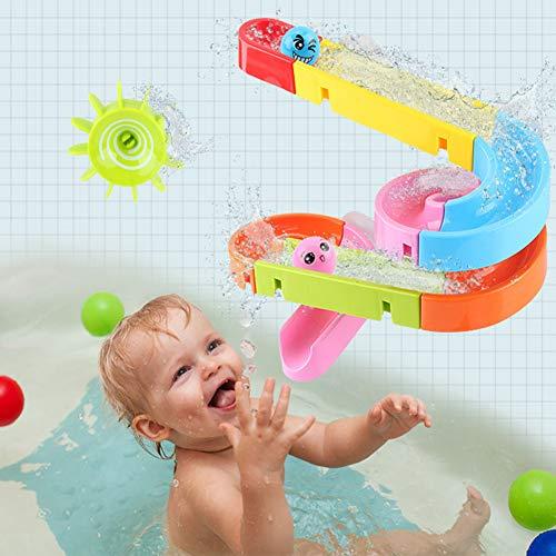 Buyger Kugelbahn Bausteine Badewannen Badespaß Spielzeug Badespielzeug Wasserspielzeug im Badewanne Wasserspiel für Baby und Kleinkinder (Bad, Track Ball)