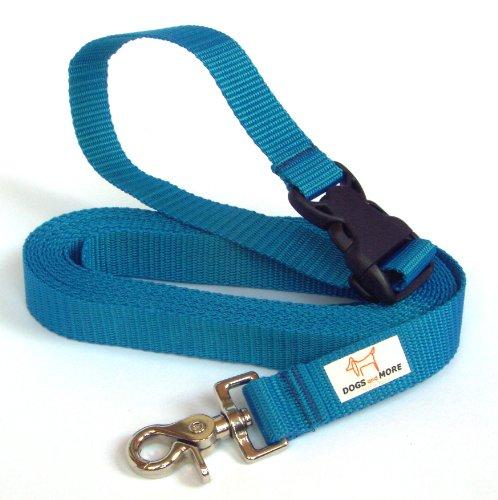 Dogs and More - VERLÄNGERBARE Schleppleine mit LÖSBARER Handschlaufe - Basis 5 Meter (Blau; 25 mm breit) / Suchleine/Feldleine