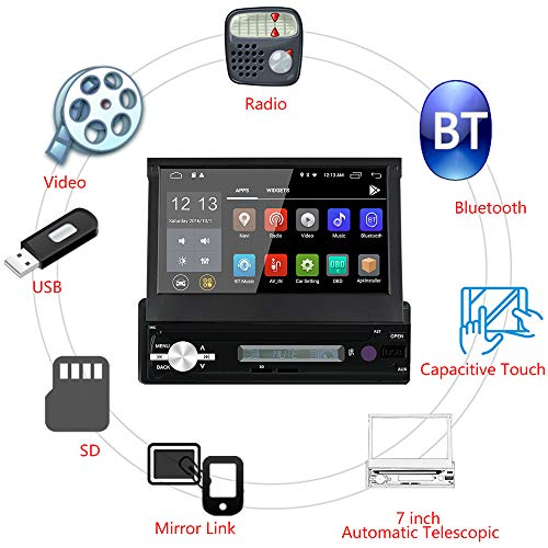 WANGOFUN Android 6.0 Autoradio 7-Zoll-Touchscreen-Autoradio In-Dash-GPS-Navigation mit Backup-Kamera-Unterstützung Bluetooth USB SD Mirro-Link WiFi AM/FM/RDS