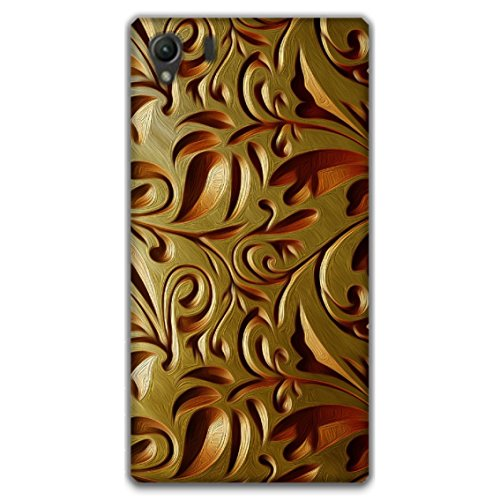 The Racoon Grip printed designer hard back mobile phone case cover for Sony Xperia Z1. (Gold Weave)  available at amazon for Rs.99