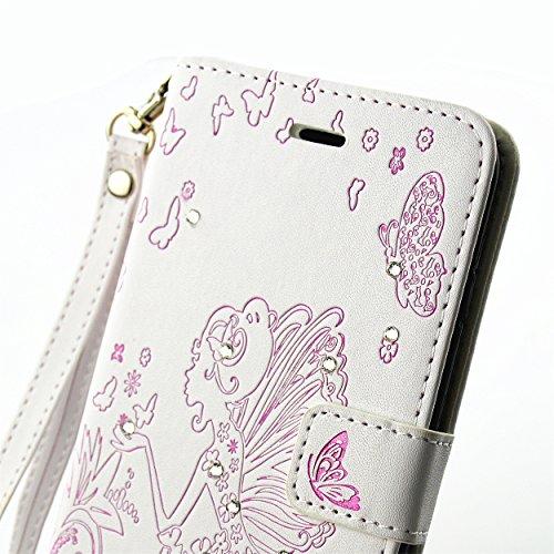 PU Cuir Coque Strass Case Etui Coque étui de portefeuille protection Coque Case Cas Cuir Swag Pour Apple iPhone 7 Plus (5.5 pouces) +Bouchons de poussière (6AA) 3
