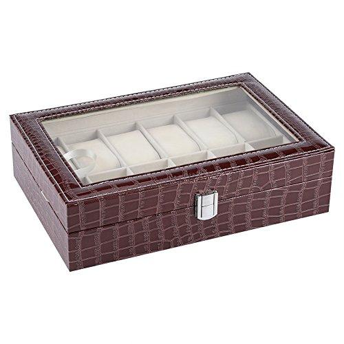Sugoyi Uhrenkasten-Spielraum, 12 weicher Kissen-Uhr-Kasten-Schmuck-Anzeigen-Speicher-Organisator-Kasten-Kasten(Braun) -