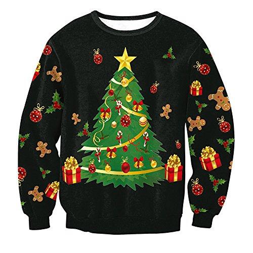 *Shujin Winter Unisex Herren Damen Weihnachtspulli Weihnachtspullover Rundhals Langarmshirt mit Weihnachtsbaum Druck loose Jumper Sweatshirt Oberteile (S, Schwarz)*