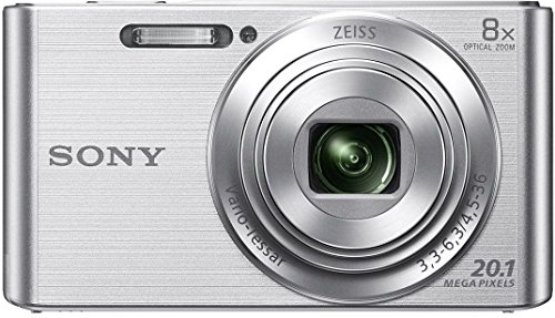 Sony Cybershot DSC-W830/S 20.1MP Digital Camera (Silver) with 8X Optical Zoom, Memory Card and Camera Case