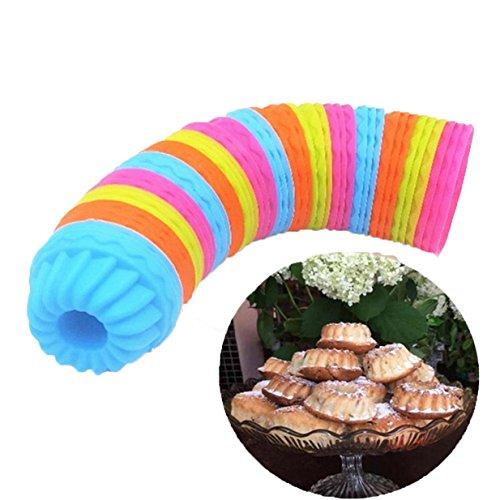 Lalang 12 Stück Gewinde- Form Silikon Backförmchen Cupcake Muffinform Muffinförmchen Ideal für Muffins, Brownies, Cupcakes, Eis, Pudding