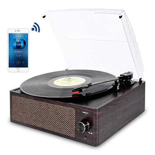 Giradischi Bluetooth Portatile a Tre Velocità (33 1/3, 45 E 78 Giri), Vintage Vinile Giradischi con...