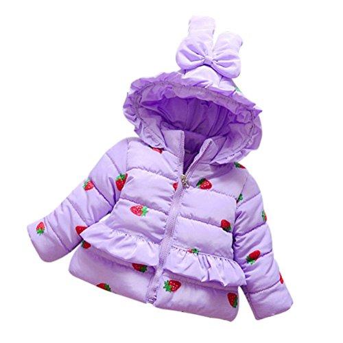 Mantel Mädchen Kolylong® 1 PC (0-3 Jahre alt) Kinder Baby Mädchen Erdbeere Drucken Mantel Winter Warm Baumwolle Kapuzenmantel Dicker Jacke Outwear Tops Kinder Oberbekleidung (90CM(12-18 Monate), Lila) (18 Monate Girl Kostüme)