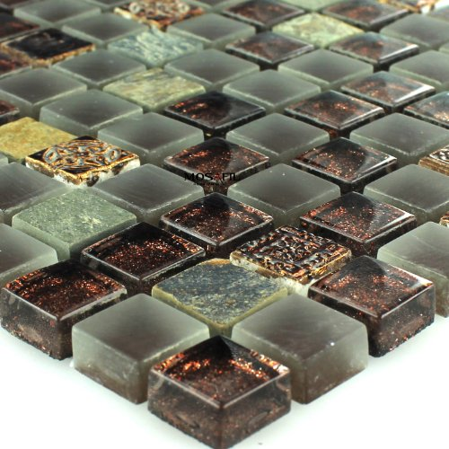 Glas Naturstein Quarzit Mosaik Fliesen Glitzer