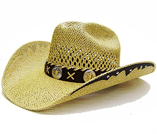 Modestone Unisex Open Weave Large Brim Straw Cowboy-Hut Light Yellow (Mahan Cowboy-hüte Larry)