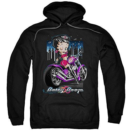 Kapuzenpullover Betty Boop City Chopper Winking on Bike - Schwarz - Mittel