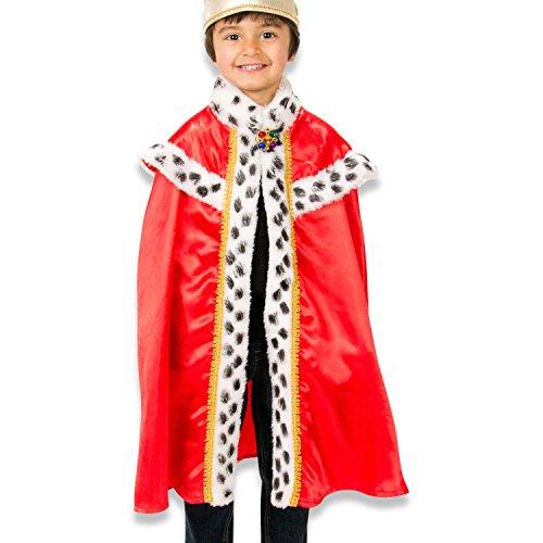 König Umhang - König Mantel für König Kostüm - Kinder 3-8 Jahre alt - Slimy (Kind Uk Kostüm König)