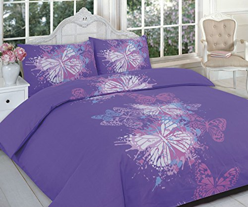 HOME TLC NEW BUTTERFLY CHOCO PINK PURPLE DUVET QUILT COVER PILLOWCASE BEDDING SET SINGLE DOUBLE KING SUPERKING SIZE (Single, Purple)
