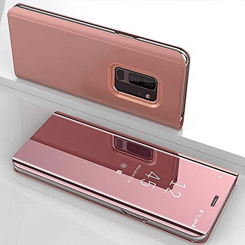 Herbests Hülle Kompatibel mit Xiaomi Redmi 4X Spiegel Ledertasche BookStyle Ultra Dünn Überzug Mirror Case Transluzente Fensteransicht Galvanisieren Handyhülle Lederhülle,Rose Gold