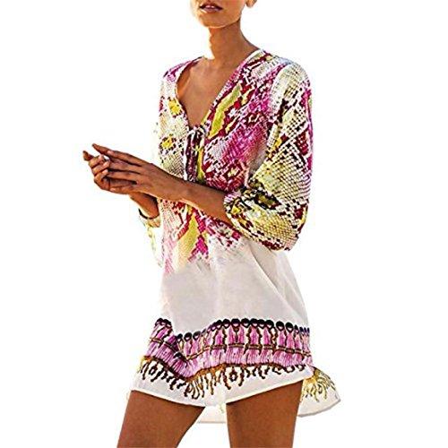 Moonuy Frauen Drei Viertel Ärmel Rock, Vertuschen Bohemia Badeanzug Beachwear Bikini Kleid Chiffon V-Ausschnitt Druck MinirockStylish Kleidung (A) (Badeanzug Vertuschen, Rock)