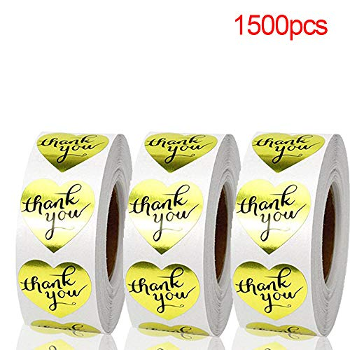 500/1000/1500pcs Paper Cards Cookie Bags Gold Heart Shaped Box Wedding Decor Package Label Thank You Tag Kraft Stickers(1500pcs)