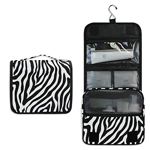 Vinlin Zebra Print Pattern Multifunction Portable Makeup Storage Bag Travel Hanging Organizer Bag for Women Twill-zebra-print