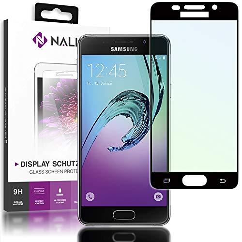 NALIA Schutzglas kompatibel mit Samsung Galaxy A3 (2016), Full-Cover Displayschutz Handy-Folie, 9H gehärtete Glas-Schutzfolie Bildschirm-Abdeckung Schutz-Film Clear HD Screen Protector, Farbe:Schwarz