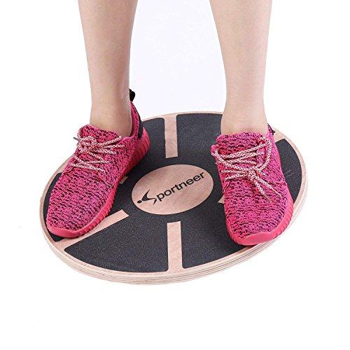 Sportneer Wackelbrett Balance Board Holz Durchmesser 40cm Gleichgewicht Board- professionel für die Übung, Gym, Sport Performance Enhancement, Rehab, Ausbildung(1PACK) (Schwarz2)