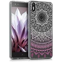 kwmobile Funda para bq Aquaris X5 Plus - Case para móvil en TPU silicona - Cover trasero Diseño sol indio en rosa fucsia blanco transparente