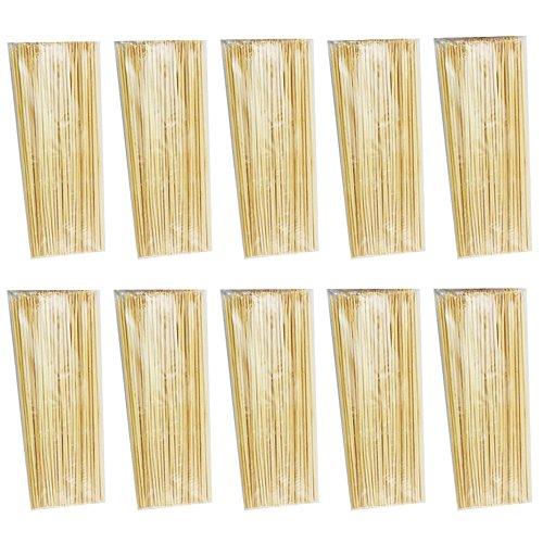 Com-Four Lot de 500 Pics à brochettes, brochettes en bois 20 cm 1000 Schaschlikspieße