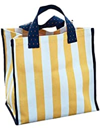 Waterproof Stripes Beach Tote Bag Portable Shopping Storage Bag With Pockets Foldable Travel Tote(Vertical Stripe-Yellow...