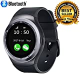 #7: Meya Happy Y1 Unisex Bluetooth 4g Smart Watch For Men / Boys / Girls / Women | Facebook / Whatsapp Messaging / 4g Sim Card Support / Touch Screen / Compatible with All Samsung, Xiaomi, Lenovo, Oppo Android / iOS Apple iPhone Mobile Phones - Black Color