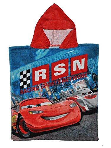 Badeponcho Disney Cars Lightning McQueen 50 cm * 115 cm - 4 bis 8 Jahre Poncho - Handtuch Strandtuch Baumwolle - Kinder