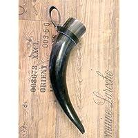 1 Trinkhorn Ansgar m.Halter, ca.0,4L/25-35 cm, versiegelt/poliert-für Met-Wikinger-LARP- Mittelalter-Drinking Horn-Methorn, ideales Ostergeschenk, ein Geschenk für Wikinger