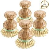 Juego de 4 cepillos de bambú para fregar sartenes de hierro fundido, fregadero de cocina, baño, limpieza del hogar