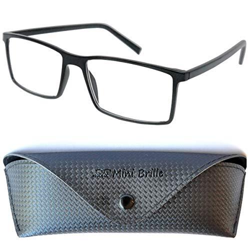Klassische Nerd Lesebrille mit großen rechteckigen Gläsern - mit GRATIS Etui und Brillenputztuch |...