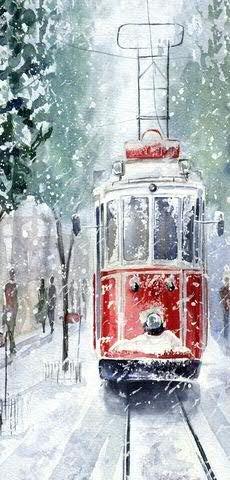 Textilbanner - Thema: Weihnachten - Straßenbahn im Schnee - 180cmx90cm - Banner zum Hängen & Dekorieren