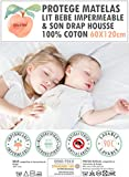 PROTÈGE MATELAS (alèse) Lit Bébé 60*120cm et DRAP 100% COTON-PEACHSKIN-100% Imperméable, Respirant en éponge DOUX et CONFORTABLE-OEKO TEX- antibactérien, hypoallergénique, sans produit chimique.